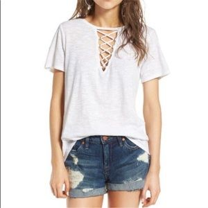 NWT Socialite Grommet Lace-Up Tee